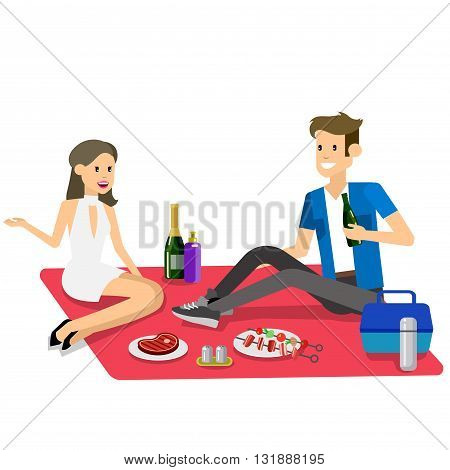 Vector character people couple love on Family picnic or Bbq party. Food and barbeque, summer and grill. Vector barbeque party, illustration barbeque party