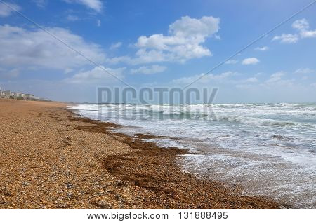 Pebble beach in Brighton on a windy day United Kingdom