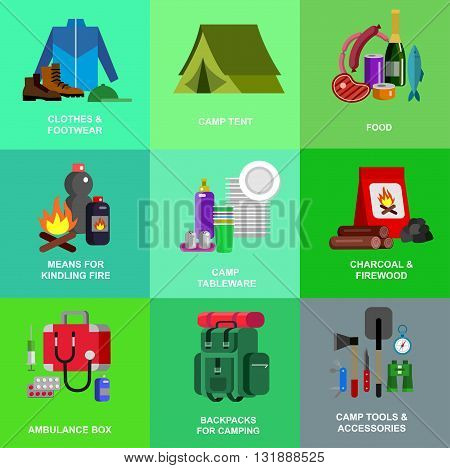 Camping and barbecue object. Camping Weekend and barbecue party and picnic icons. Hiking, barbecue and camping object. Vector barbecue, camping flat illustration