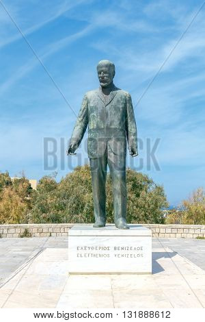 Heraklion, Greece - April 24, 2016: Monument Elefteros Venizelos in the center of Heraklion. The famous Greek politician and Prime Minister