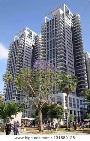 TEL AVIV ISRAEL - APRIL 27 2016: High-rise residential towers in the Sarona quarter in Tel Aviv