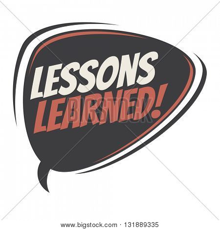 lessons learned retro speech bubble