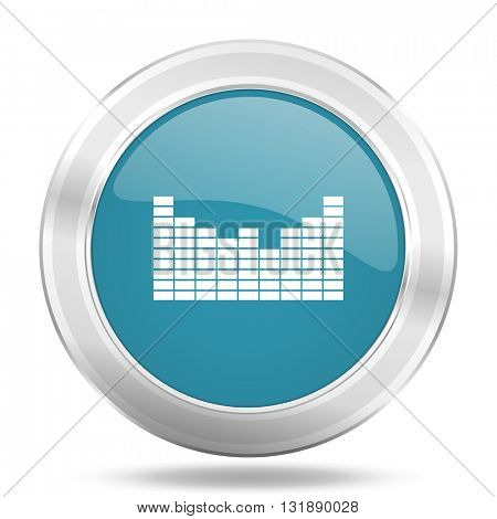 sound icon, blue round metallic glossy button, web and mobile app design illustration