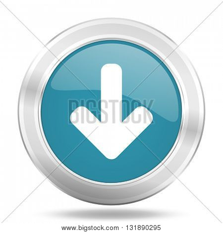 download arrow icon, blue round metallic glossy button, web and mobile app design illustration