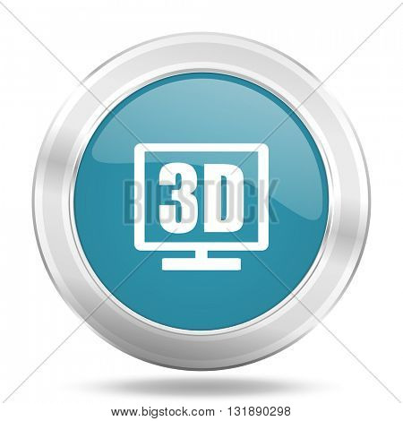 3d display icon, blue round metallic glossy button, web and mobile app design illustration