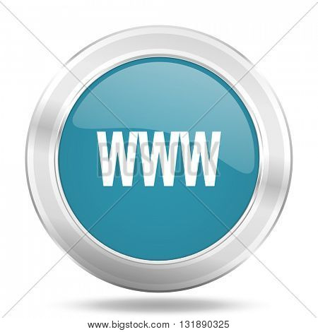 www icon, blue round metallic glossy button, web and mobile app design illustration