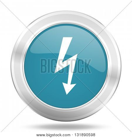 bolt icon, blue round metallic glossy button, web and mobile app design illustration