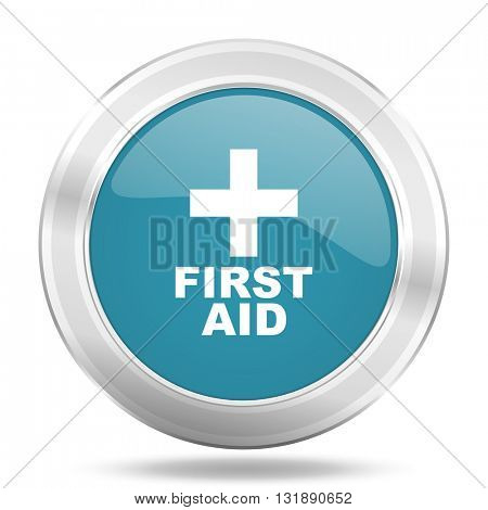 first aid icon, blue round metallic glossy button, web and mobile app design illustration