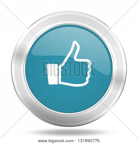 like icon, blue round metallic glossy button, web and mobile app design illustration