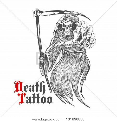 Sketch cartoon dreadful grim reaper in old hooded cloak with scythe pointing at viewer. Death or skeleton monster character for t-shirt print or tattoo design usage