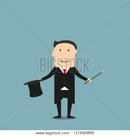 Cartoon magician in elegant black tailcoat showing tricks with magic wand and hat. Entertainment and weekend leisure activity or profession theme design