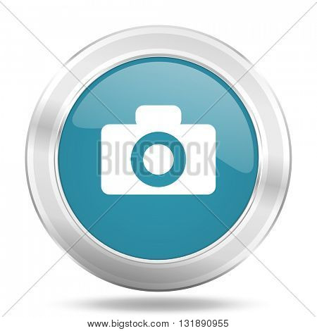 camera icon, blue round metallic glossy button, web and mobile app design illustration