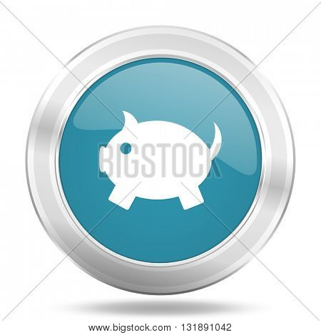 piggy bank icon, blue round metallic glossy button, web and mobile app design illustration