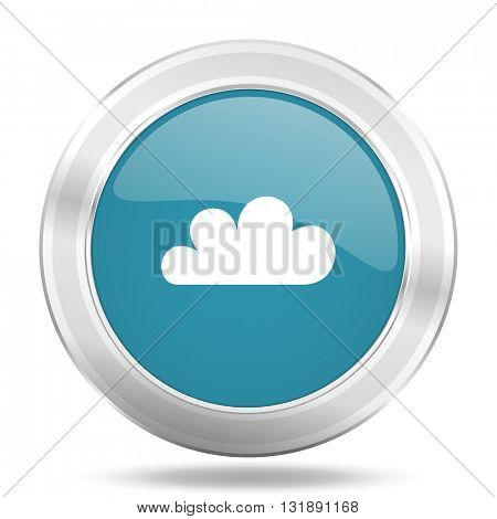 cloud icon, blue round metallic glossy button, web and mobile app design illustration