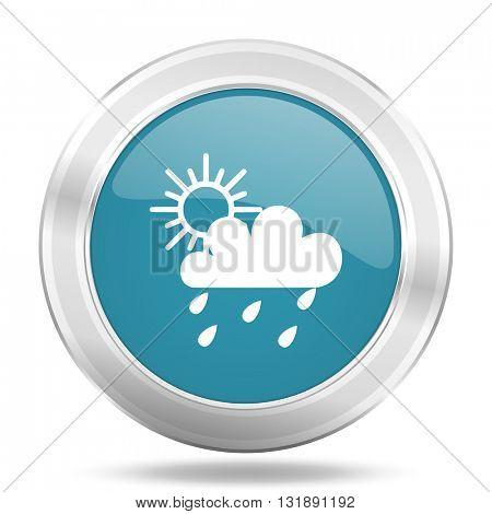 rain icon, blue round metallic glossy button, web and mobile app design illustration