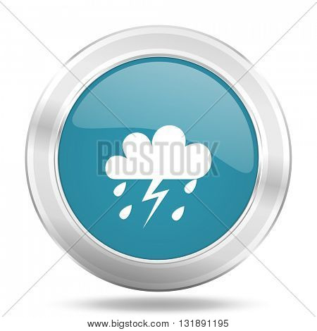 storm icon, blue round metallic glossy button, web and mobile app design illustration