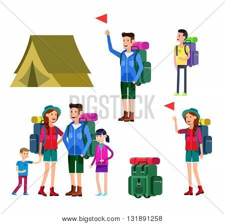vector illustration of kids summer camp. Vector characters   camp counselor and children. Camping banner and icon,  family camping. Vector family camping. Illustration  family camping