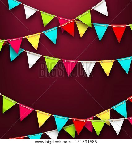 Illustration Party Background with Colorful Bunting Flags for Holidays. Bright Template for Poster, Postcard, Flyer - Vector