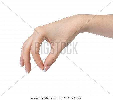 Beautiful female hand with french manicure .