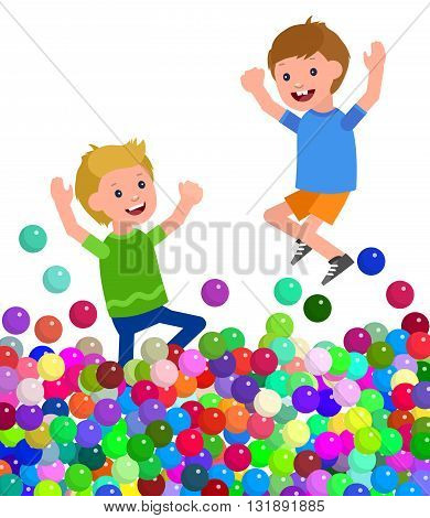 Cute vector character child. Cheerful child playing in pool with colorful balls. Happy kid Jump and Run. Detailed character child. Vector for Celebration children day, fun child.