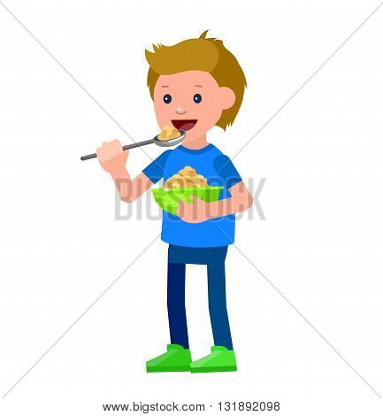 Cute vector character child and healthy food. Child boy eating breakfast. Happy kid illustration. Detailed character child. Vector fun child.