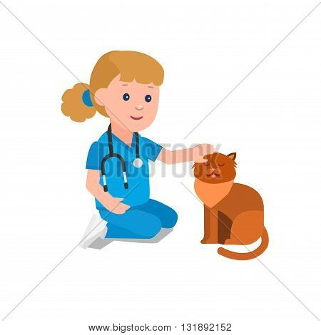 Cute vector character child. Kid playing to be a doctor or nurse with animal. Happy kid illustration. Detailed character child. Vector fun child.