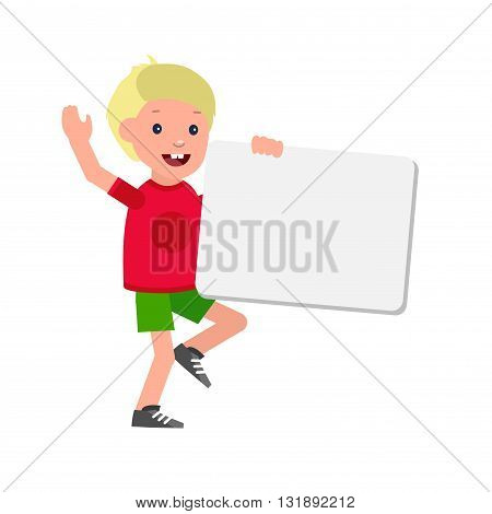 vector illustration of kids standing behind placard. Cheerful child holding white poster. Happy kid illustration. Detailed character child. Vector for Celebration children day, fun child.