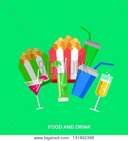 Carton bowl full of popcorn and paper glass of drink. Cinema movie poster or banner template, popcorn