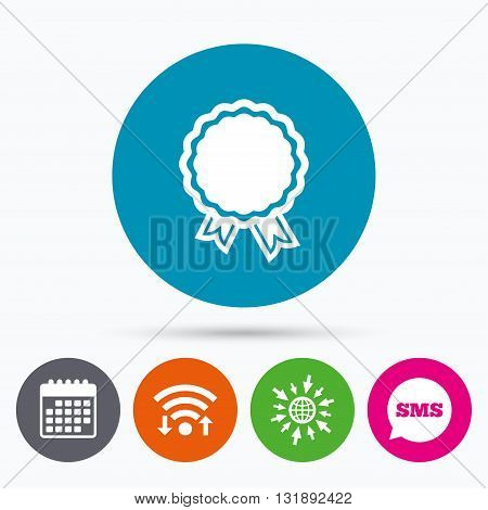 Wifi, Sms and calendar icons. Award icon. Best guarantee symbol. Winner achievement sign. Go to web globe.