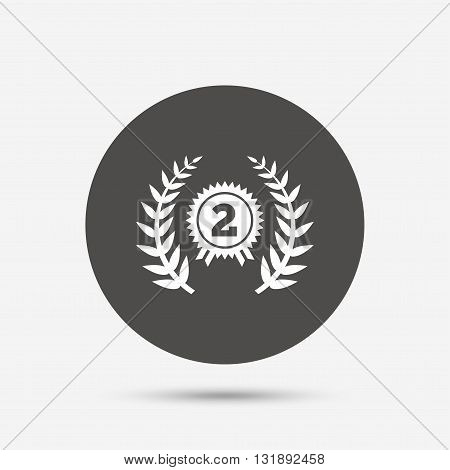Second place award sign icon. Prize for winner symbol. Laurel Wreath. Gray circle button with icon. Vector