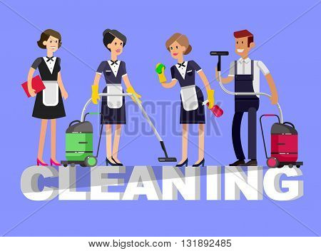 Poster design for cleaning service and cleaning supplies. Vector detailed character professional housekeeper. Cleaning kit icons isolated on white background. Vector cleaning. Illustration cleaning