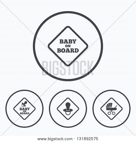 Baby on board icons. Infant caution signs. Child buggy carriage symbol. Icons in circles.