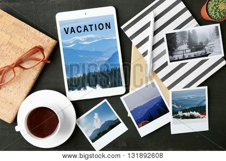 Vacation and traveling concept with modern technology