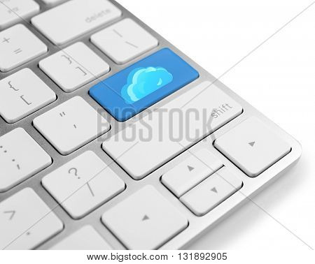 Cloud on computer keyboard. Cloud storage concept