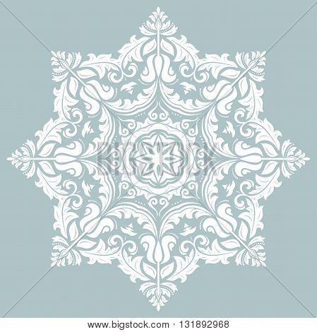 Oriental pattern with arabesques and floral elements. Traditional classic white ornament