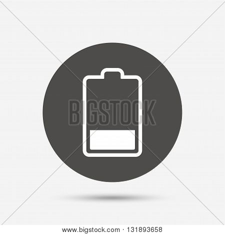 Battery low level sign icon. Electricity symbol. Gray circle button with icon. Vector