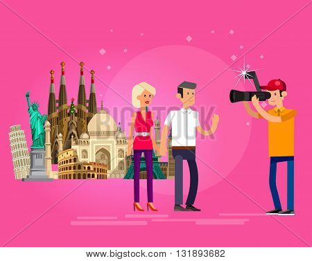 High quality, detailed most famous World landmarks. Character photographer and loving couple. Travel vector. Travel illustration. Travel landmarks. Happy travel