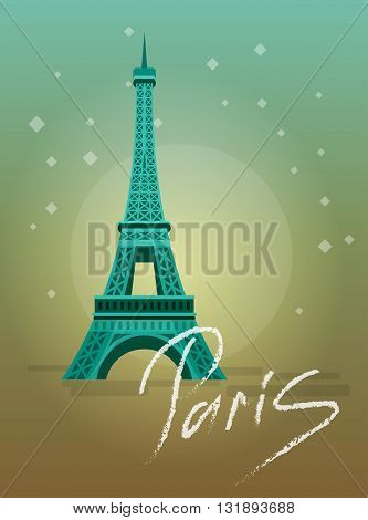 High quality, detailed most famous World landmark. An image of Paris Eiffel Tower Icon. Paris Eiffel Tower card. Travel vector. Travel illustration. Travel landmarks. Happy travel