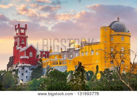 Pena National Palace and sunset sky, famous landmark, Sintra, Lisbon, Portugal, Europe