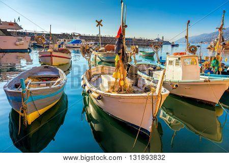 Beautiful Old Mediterranean Town - marina harbor with fish boats - Camogli, Italy, European travel