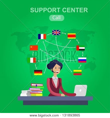 Vector detailed character Language translator concept with Language translator woman and world map with flags of world languages, Language translator  illustration. Vector Language translator