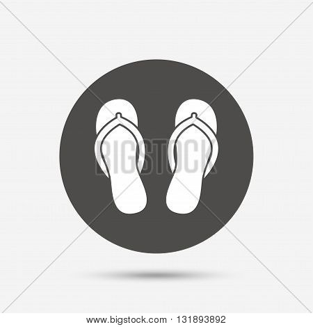 Flip-flops sign icon. Beach shoes. Sand sandals. Gray circle button with icon. Vector