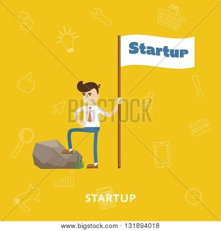 Startup business project process with entrepreneur flat abstract isolated vector illustration