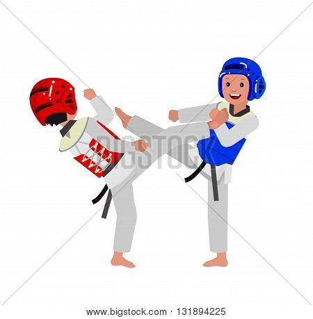 Cute vector character child and taekwondo. Illustration for martial art poster. Kid wearing kimono and taekwondo training. Vector fun child. Illustration of Kid and Sport. Child take fighting pose