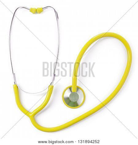 Yellow medical stethoscope isolated on white
