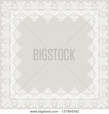 Classic square frame with white arabesques and orient elements. Abstract fine ornament