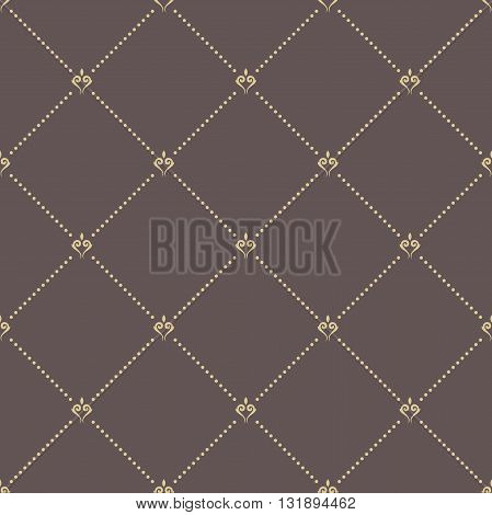 Geometric repeating brown ornament with golden diagonal dotted lines. Seamless abstract modern pattern