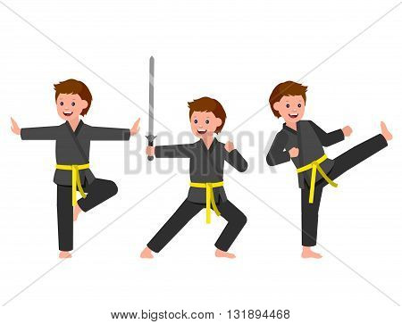 Cute vector character child. Illustration for martial art kung fu poster. Kid wearing kimono and training kung fu. Vector fun child. Illustration of Kid and Sport. Child take kung fu fighting pose