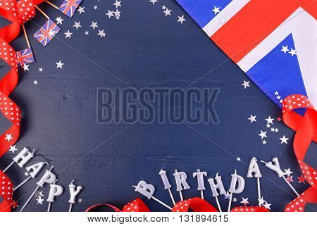 Uk Theme Party Background With Decorated Borders.