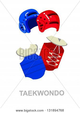 Illustration for martial art poster. Taekwondo training. Vector equipment for Taekwondo. Illustration vector